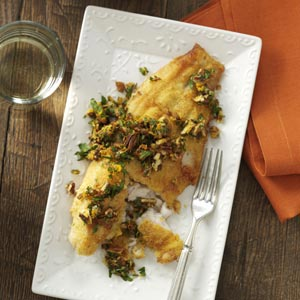 Pan-Fried Catfish with Spicy Pecan Gremolata Recipe