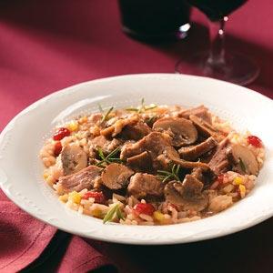 Portobello Beef Stew with Cranberry Pilaf Recipe