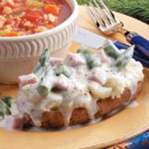Ham n Swiss-Topped Potatoes Recipe