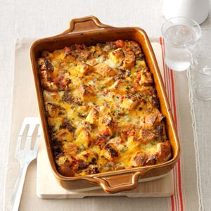 Tomato, Sausage & Cheddar Bread Pudding Recipe