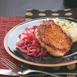Caraway Pork Chops and Red Cabbage Recipe