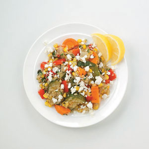 Quinoa with Roasted Veggies and Feta Recipe
