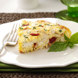 Creamy Sun-Dried Tomato & Chicken Frittata Recipe