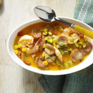 Andouille-Shrimp Cream Soup Recipe