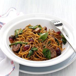 Balsamic Roasted Sausage and Grapes with Linguine Recipe