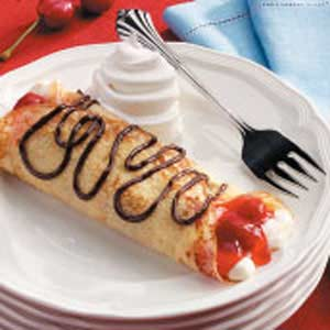 Chocolate-Cherry Cream Crepes Recipe