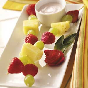 Fruit Skewers with Lactose-Free Dip Recipe