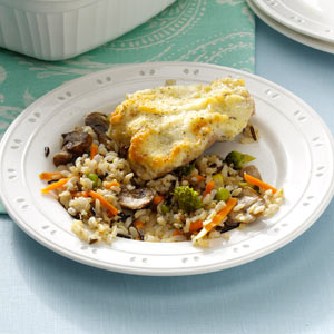 Parmesan Chicken with Mushroom Wild Rice Recipe