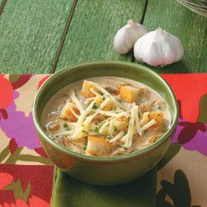 Crouton-Topped Garlic Soup Recipe