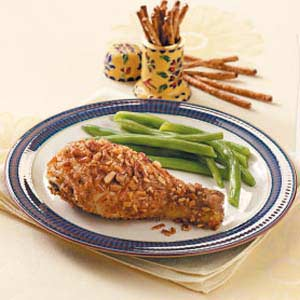 Pretzel-Crusted Drumsticks Recipe