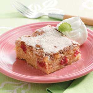 Cinnamon-Sugar Rhubarb Cake Recipe
