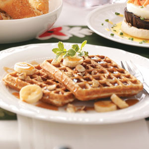 Banana Hazelnut Waffles Recipe