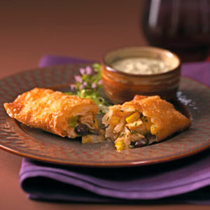 Southwest Egg Rolls & Cool Avocado Dip Recipe