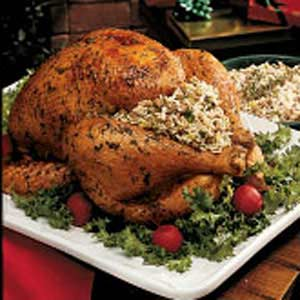 Turkey with Herbed Rice Dressing Recipe
