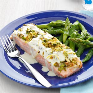 Pistachio-Crusted Salmon with Lemon Cream Sauce Recipe