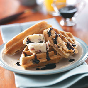 Portobello Waffles with Balsamic Syrup Recipe