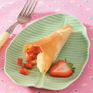 Coconut Strawberry Phyllo Cones Recipe