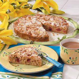 Makeover Almond Rhubarb Coffee Cake Recipe