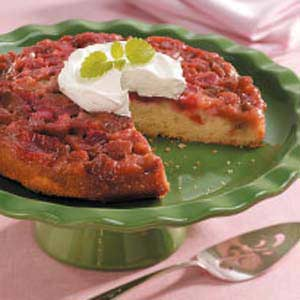 Homemade Rhubarb Upside-Down Cake Recipe