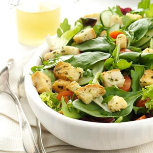 Greens with Homemade Croutons Recipe