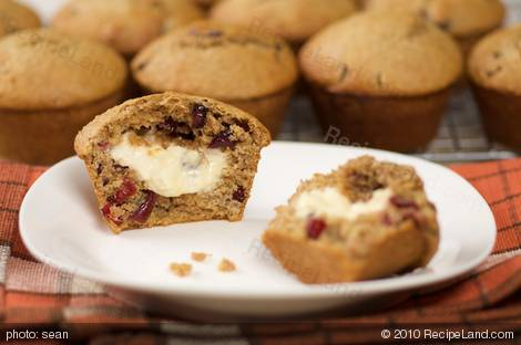 Cream Cheese Stuffed Honey Lemon Cranberry Muffins