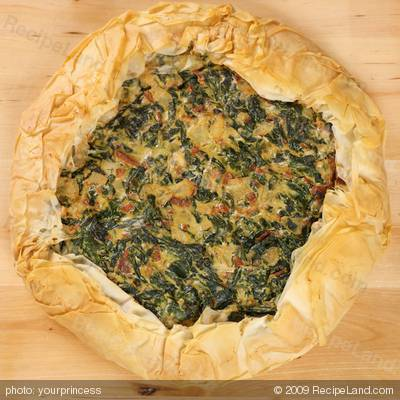 Phyllo Spinach, Sun-dried Tomato and Ricotta Cheese Tart