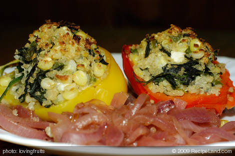 Yellow Peppers Stuffed with Quinoa, Corn and Feta Cheese