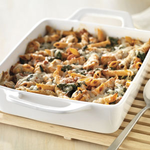 Three-Cheese Chicken Penne Pasta Bake