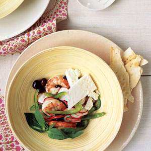 Marinated Shrimp with Mediterranean Salad