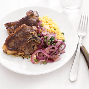 Lamb Chops with Caramelized Red Onion Salad