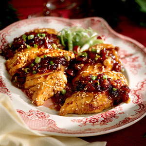 Caramelized Chicken with Cranberry Conserve