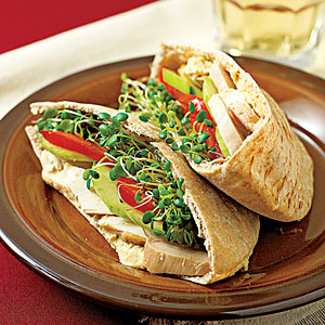 Turkey and Hummus on Pita