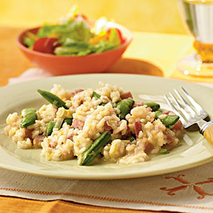 Ham Risotto with Sugar Snap Peas