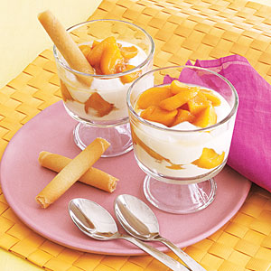 Brandied Peach and Yogurt Parfaits