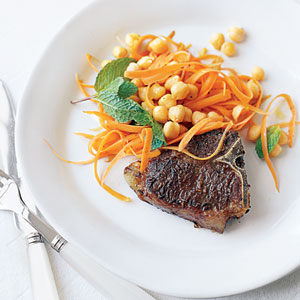 Spiced Lamb Chops with Chickpeas