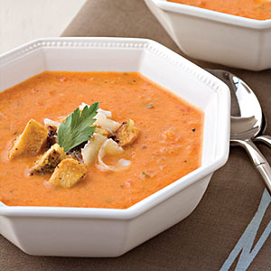 Roasted Red Pepper Soup With Pesto Croutons