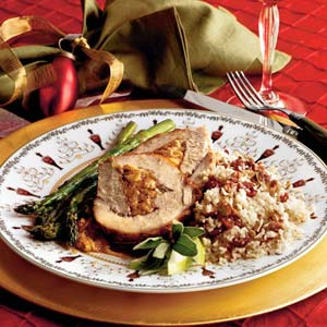 Spiced-and-Stuffed Pork Loin With Cider Sauce