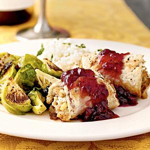 Stuffed Turkey Rolls with Cranberry Glaze