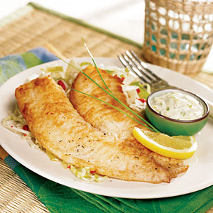 Pan-Fried Tilapia with Tangy Tartar Sauce