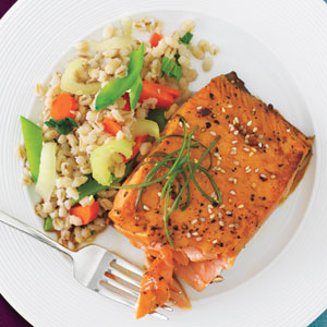 Honey and Sesame-Glazed Salmon with Confetti Barley Salad