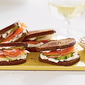 Smoked Salmon and Goat Cheese on Pumpernickel-Rye