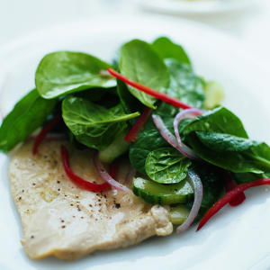 Ginger Chicken with Cucumber-Spinach Salad