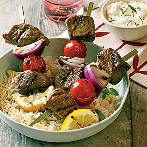 Lamb Souvlaki with Feta-Mint Dipping Sauce