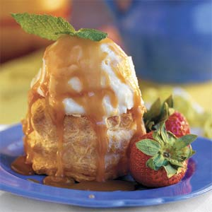 Brandy-Caramel Ice-cream Puffs