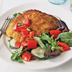 Sautéed Chicken Cutlets with Mixed Baby Greens