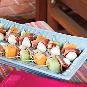 Melon, Mozzarella, and Prosciutto Skewers