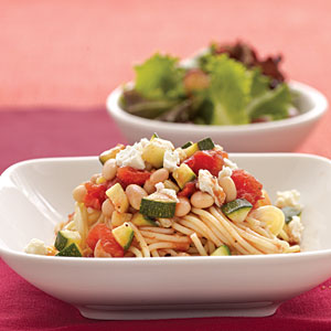 Spaghetti with Zucchini and White Beans