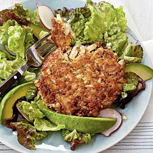 Herbed Crab Cake with Radish-and-Avocado Salad