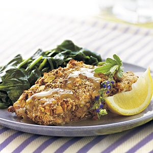 Pistachio-Crusted Grouper with Lavender Honey Sauce
