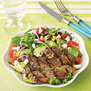 Grilled Lamb Chops with Greek Salad